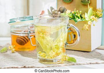 Fresh linden tea with honey best cure for flu