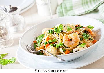 Fresh Linguine With Shrimp - Bowl of linguine with shrimps...