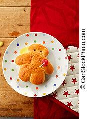Fresh little Stutenkerl or man made of sweet dough on a ...