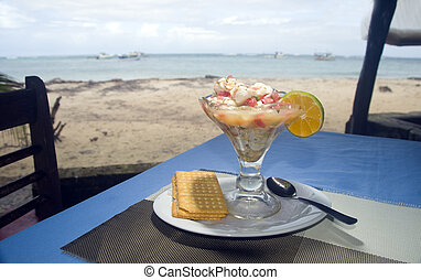 fresh lobster ceviche Central America style  photographed in Big Corn Island Nicaragua