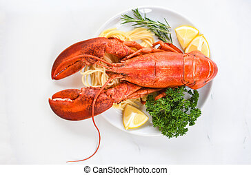 Fresh lobster food on a white plate background - red lobster dinner seafood with herb spices lemon rosemary served table in the restaurant gourmet food healthy boiled lobster cooked salad