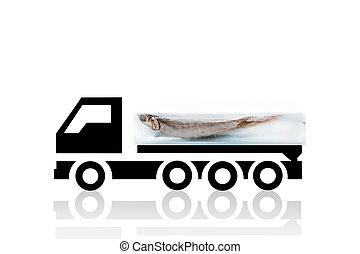 Fresh logistics. - Fresh anchovy fish frozen in ice block on...