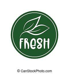 Fresh logo green leaf label  for veggie or vegetarian food package design. Isolated green leaf icon for vegetarian bio nutrition and healthy diet or vegan restaurant menu symbol.
