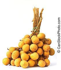 Fresh longan fruits on white background