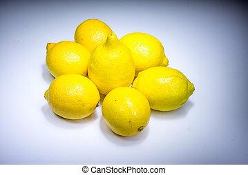 Fresh lucky seven lemons in light