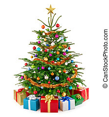 Fresh lush Christmas tree with colorful gift boxes