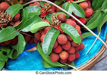 Fresh Lychee with leaves