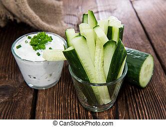 Cucumber Sticks - Fresh made Cucumber Sticks in a small...