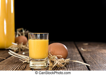 Fresh made Egg Liqueur - Egg Liqueur (close-up shot) on ...