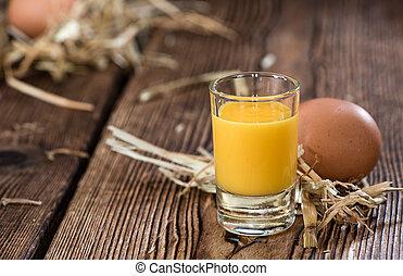 Egg Liqueur - Fresh made Egg Liqueur on vintage wooden ...