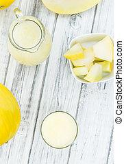 Fresh made Honeydew Melon smoothie (close-up shot; selective...