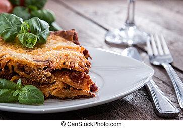 Fresh made Lasagna on a plate