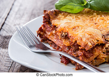 Fresh made Lasagne on a plate