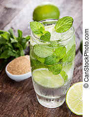 Fresh made Mojito with ingredients