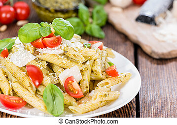 Fresh made Penne with Basil Pesto, Parmesan Cheese and ...
