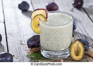 Fresh made Plum Milkshake with fresh fruits