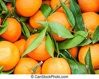 Fresh mandarin oranges - Bunch of fresh mandarin oranges on...
