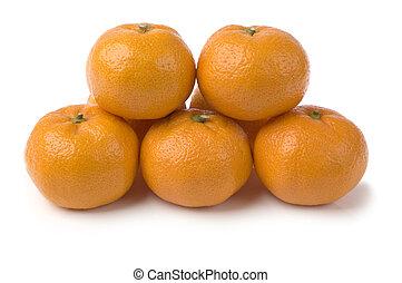 mandarine - fresh mandarine fruits on white background close...