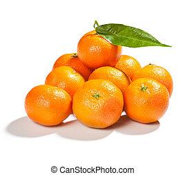 fresh mandarins with leaf isolated on white background