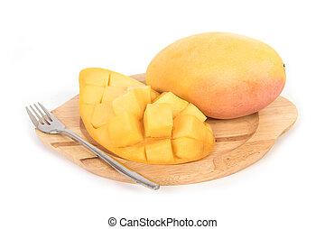 Fresh Mango and slice on white background