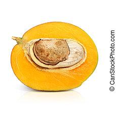 fresh mango fruit cut isolated on white