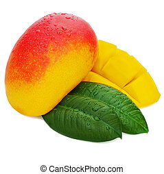 Fresh mango fruit with cut and green leaves isolated on white background.