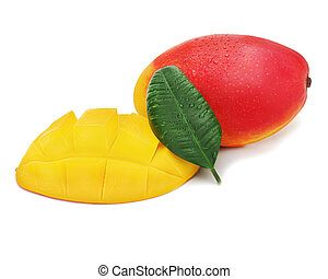 Fresh mango fruit with cut and green leaves isolated on white
