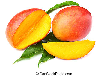fresh mango fruit with cut and real mango leafs isolated on...