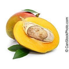 fresh mango fruit with green leafs