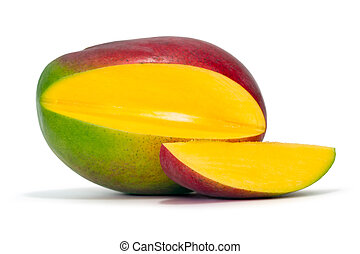 fresh mango over white background with clipping path