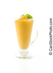 fresh mango smoothie on white background