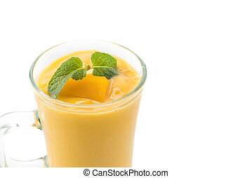fresh mango smoothie on white background