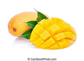 fresh mango with leaves isolated on white background