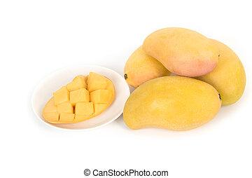 Fresh Mangoes and slice on white background