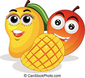 Fresh mangoes with happy face