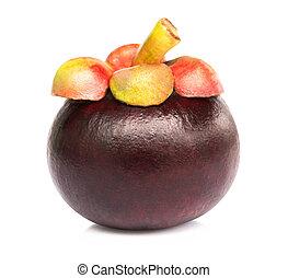 Fresh mangosteen fruit on white background