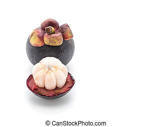 fresh mangosteen on white
