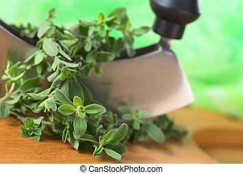 Fresh marjoram twigs with mezzaluna on cutting board with green background (Selective Focus, Focus on some of the leaves in the front)