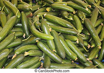 Fresh market produce of cucumbers