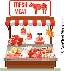 Fresh meat. Butcher shop
