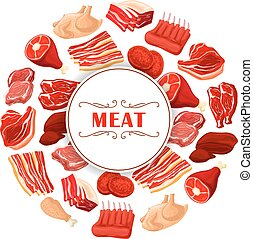 Fresh meat cuts poster for food theme design