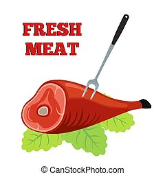 Fresh meat label. Pork, ham with barbecue fork. Flat style.