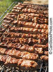 grill - fresh meat on a grill close up shoot