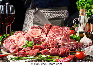 Fresh meat on a wooden background