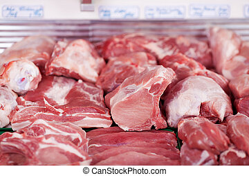 Fresh meat on display in a butchery