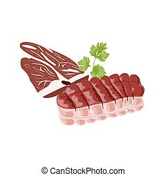 Fresh meat slice, tying peace of meat and parsley leaf. Isolated on white. Vector illustration.