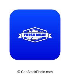 Fresh meat product icon blue isolated on white background