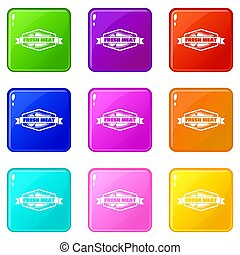 Fresh meat product icons set 9 color collection isolated on ...