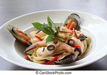 Fresh mediterranean seafood pasta
