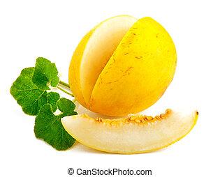 Fresh melon with green leaf